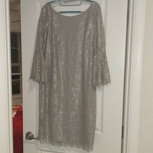 Silver lace Calvin Klein work or cocktail dress